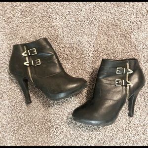 Shoes - Black Booties w/ Gold Buckles
